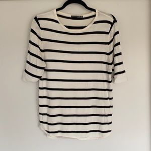Stripe Tee with Sheer back Detail Size Small
